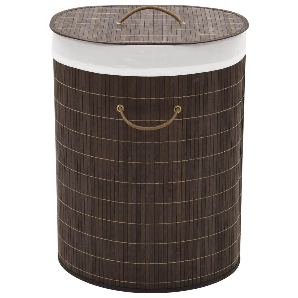 Bamboo Laundry Bin Oval Dark Brown 1