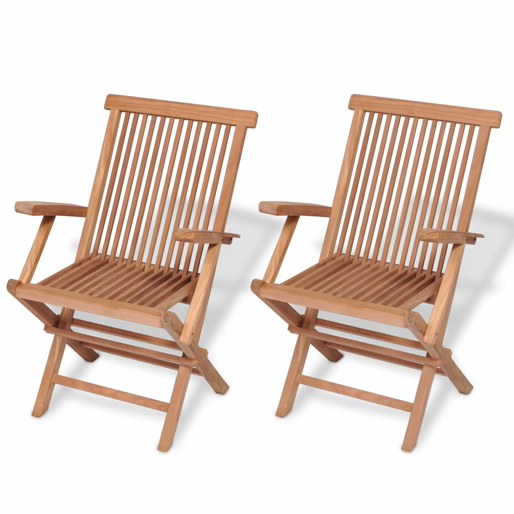 Folding Garden Chairs 2 pcs Solid Teak Wood 1
