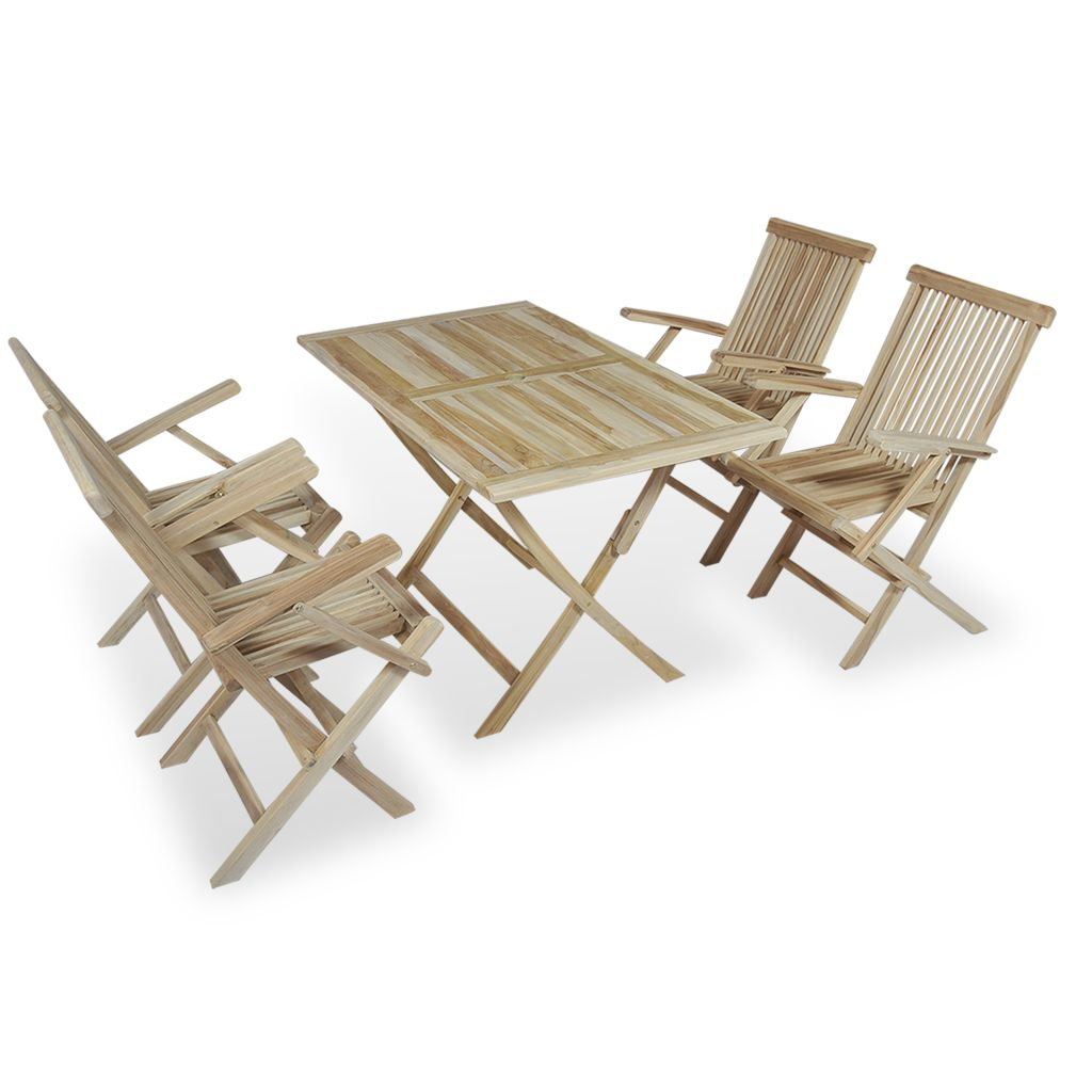 5 Piece Folding Outdoor Dining Set Solid Teak Wood 1