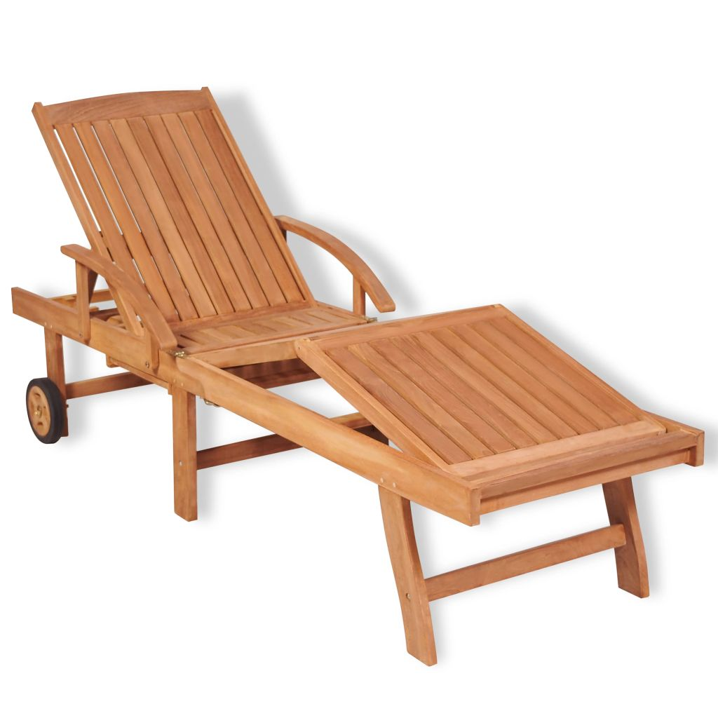Sun Lounger Solid Teak Wood 1