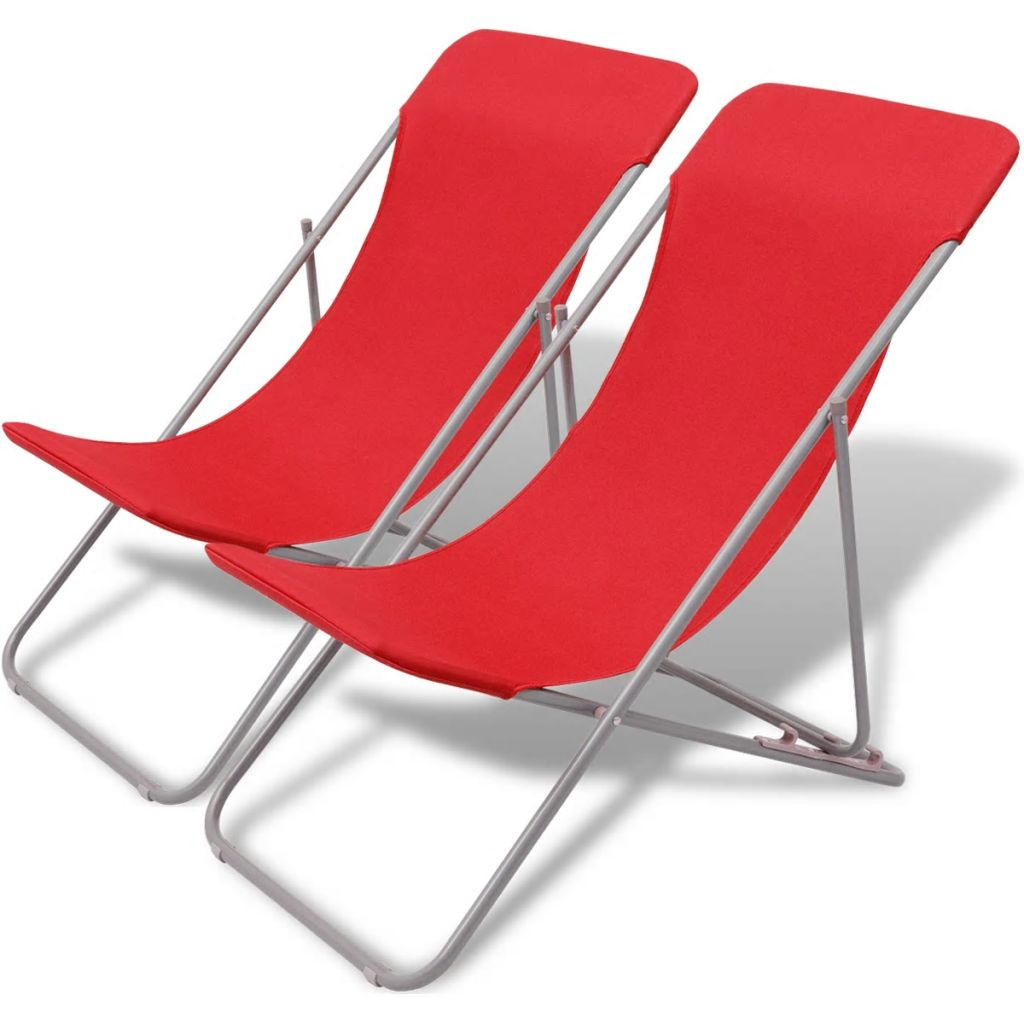 Folding Beach Chairs 2 pcs Powder-coated Steel Red