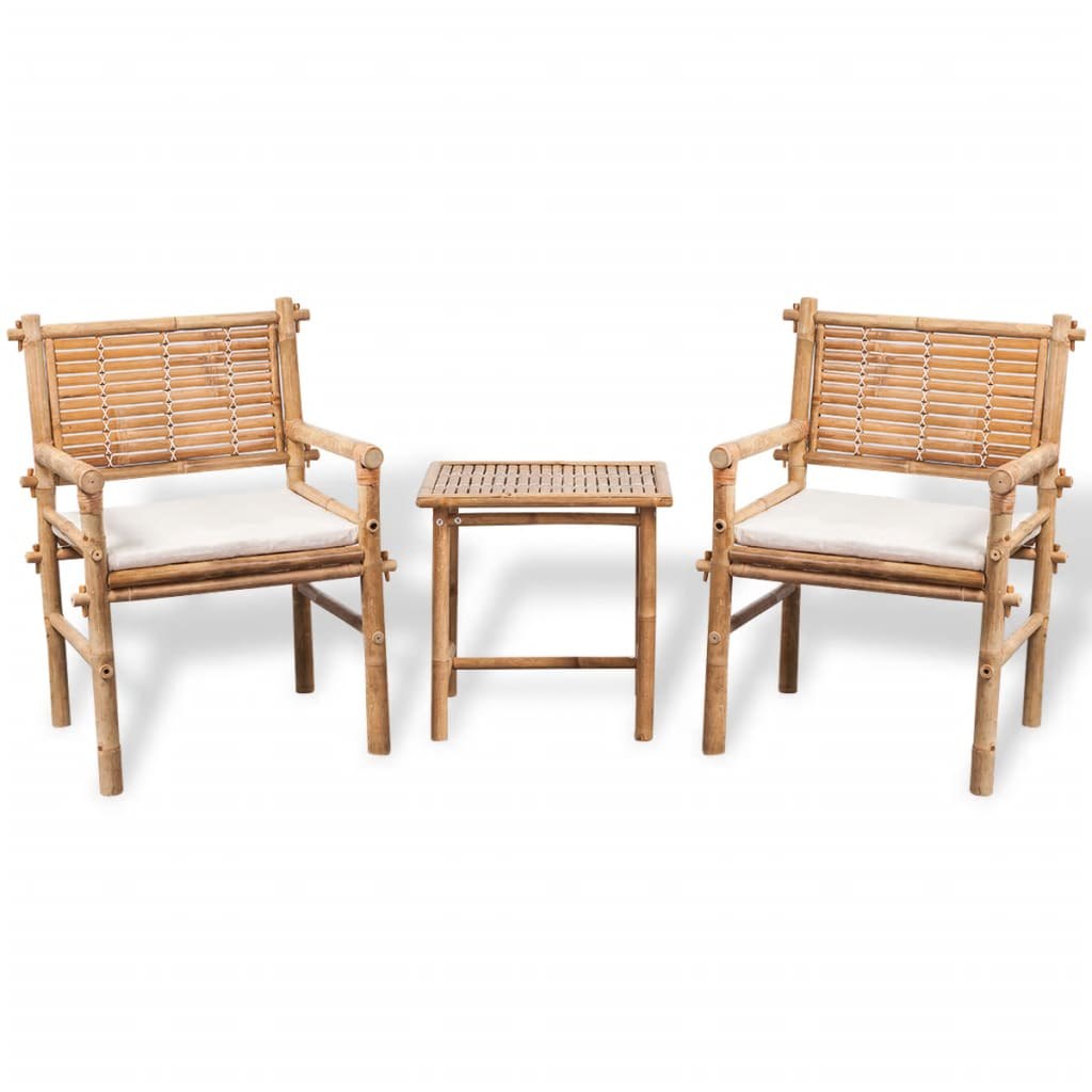 3 Piece Bistro Set with Cushions Bamboo