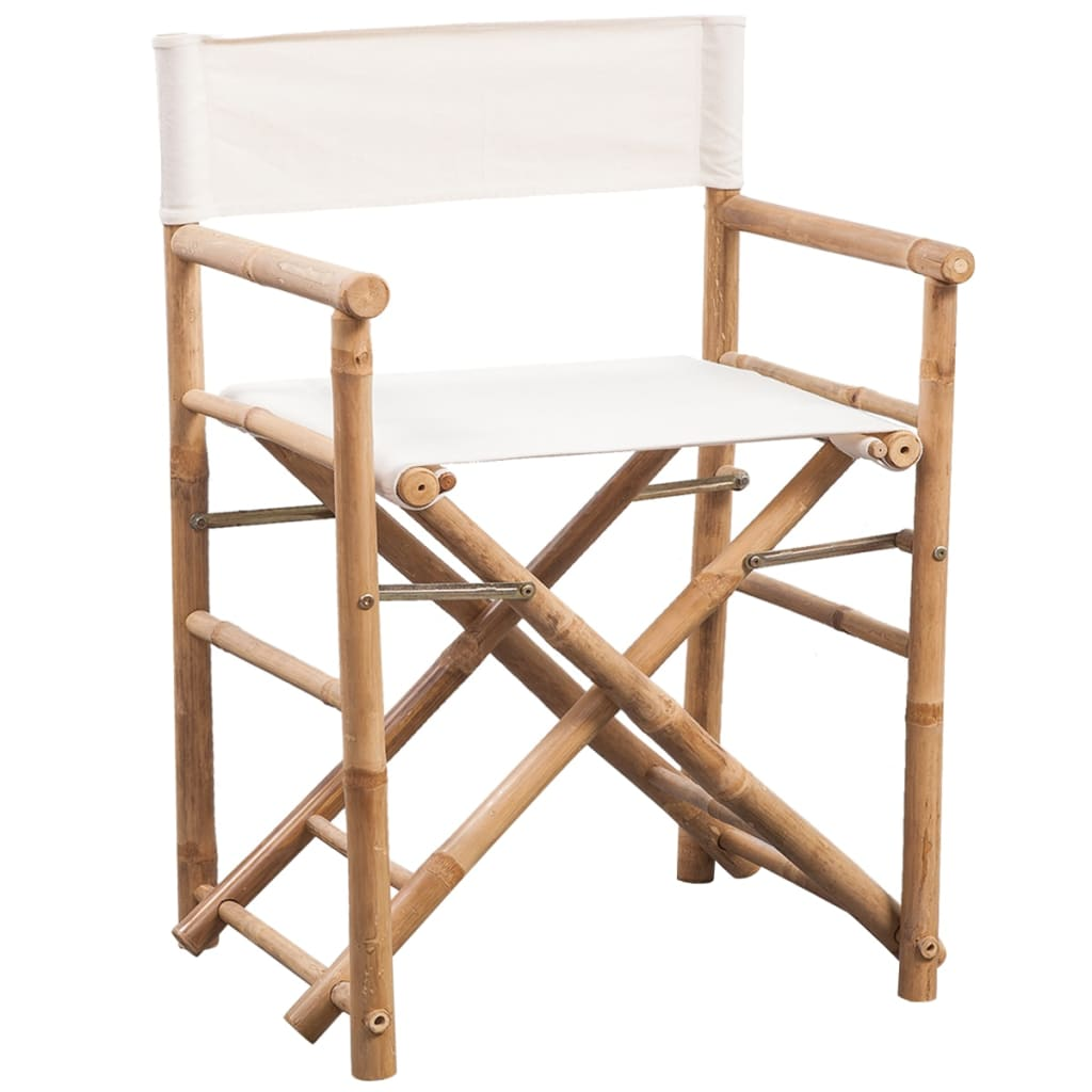 Folding Director's Chair 2 pcs Bamboo and Canvas 2