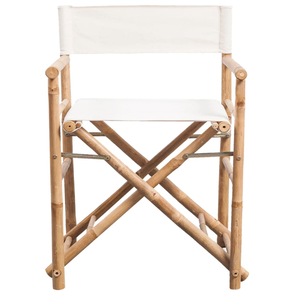 Folding Director's Chair 2 pcs Bamboo and Canvas 3