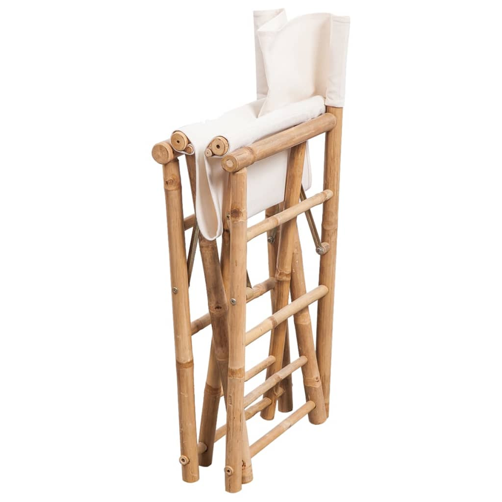 Folding Director's Chair 2 pcs Bamboo and Canvas 4