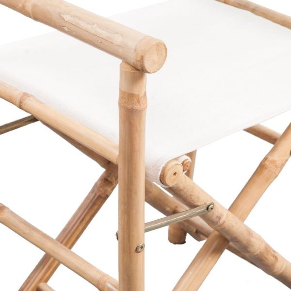 Folding Director's Chair 2 pcs Bamboo and Canvas 5