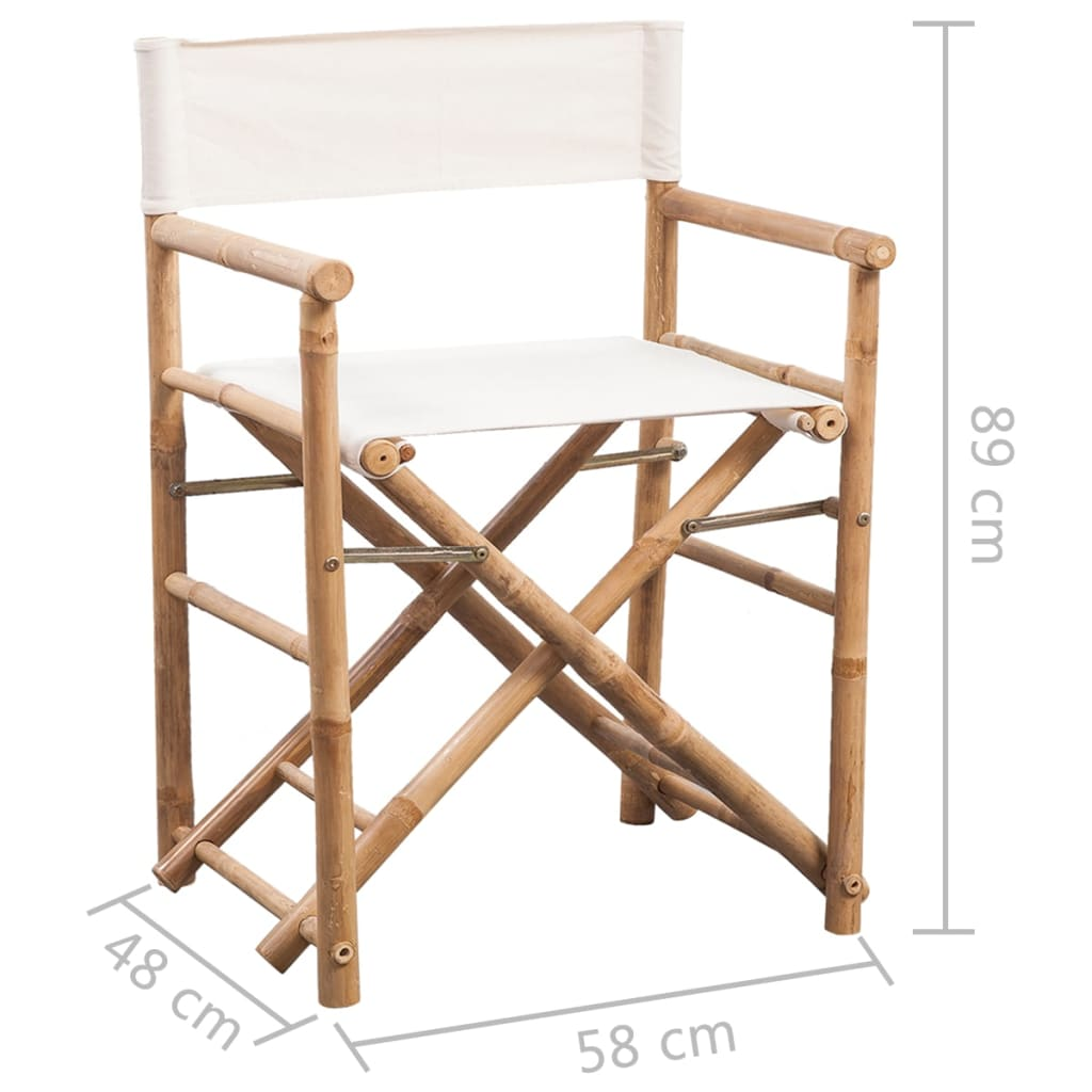 Folding Director's Chair 2 pcs Bamboo and Canvas 6
