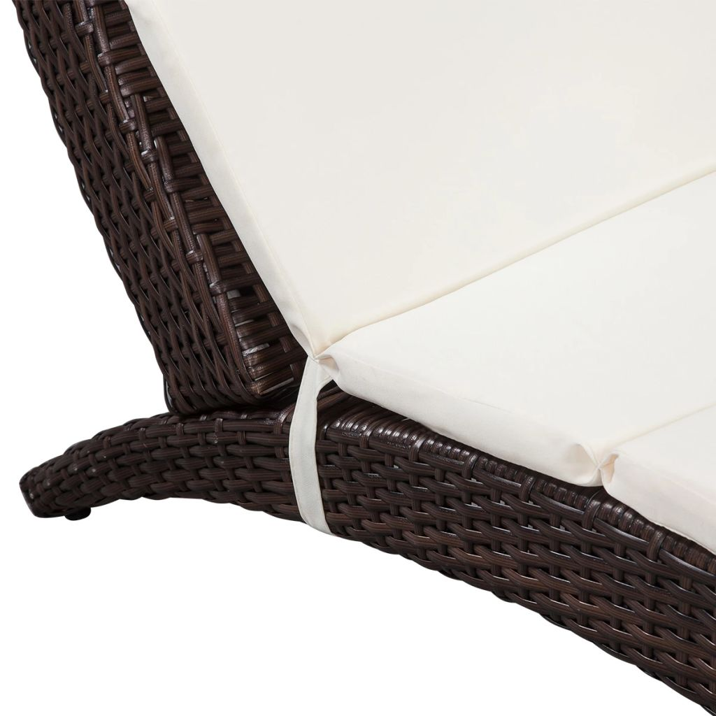 Folding Sun Lounger with Cushion Poly Rattan Brown 3