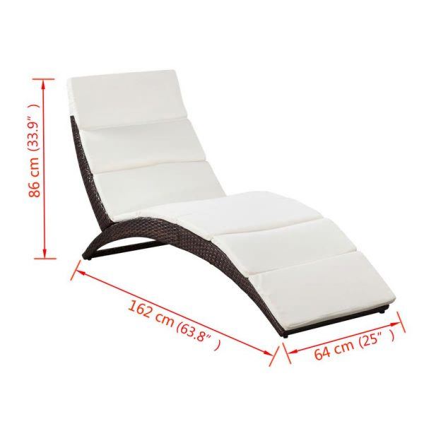 Folding Sun Lounger with Cushion Poly Rattan Brown 7