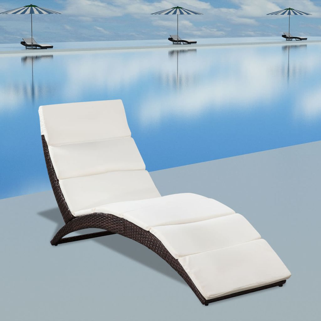 Folding Sun Lounger with Cushion Poly Rattan Brown 1