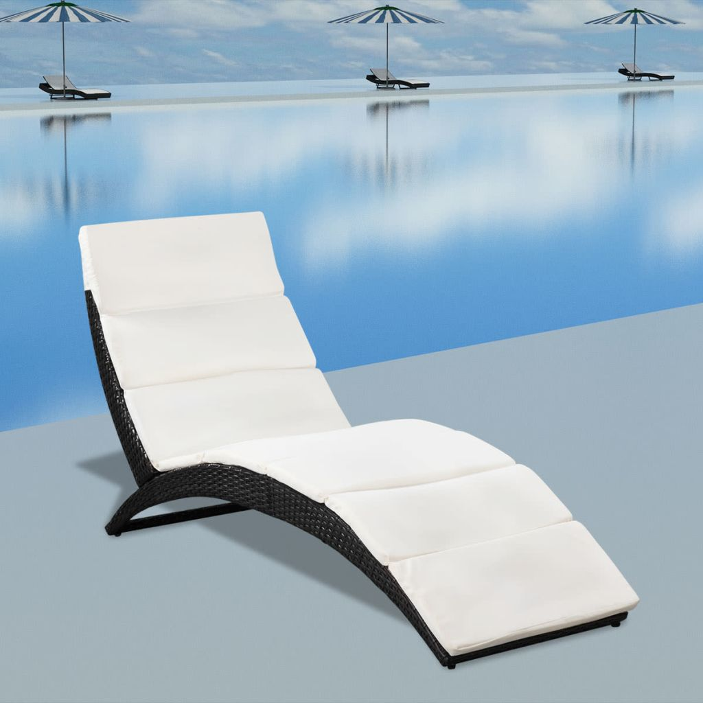 Folding Sun Lounger with Cushion Poly Rattan Black 1