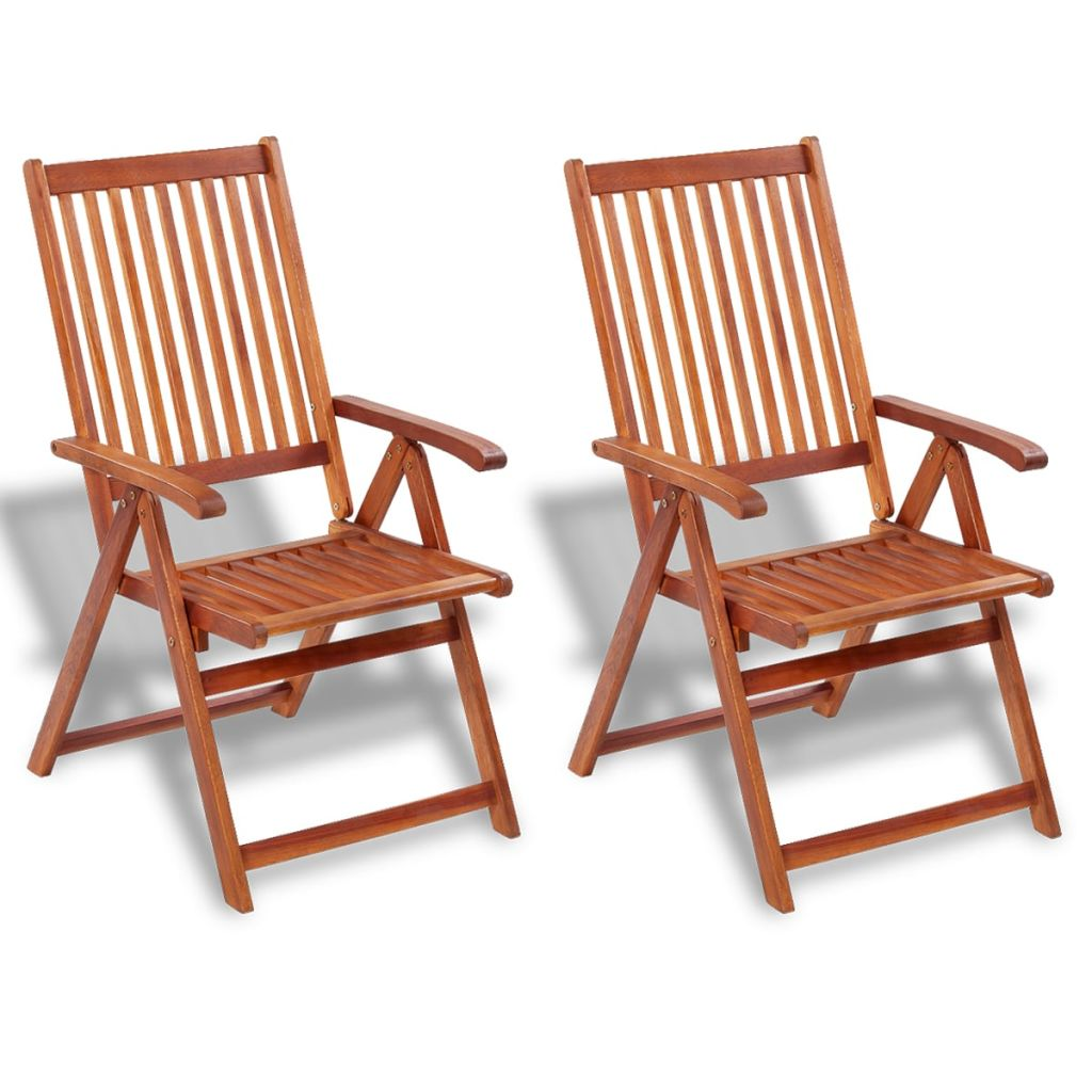 Folding Garden Chairs 2 pcs Solid Acacia Wood Brown 1