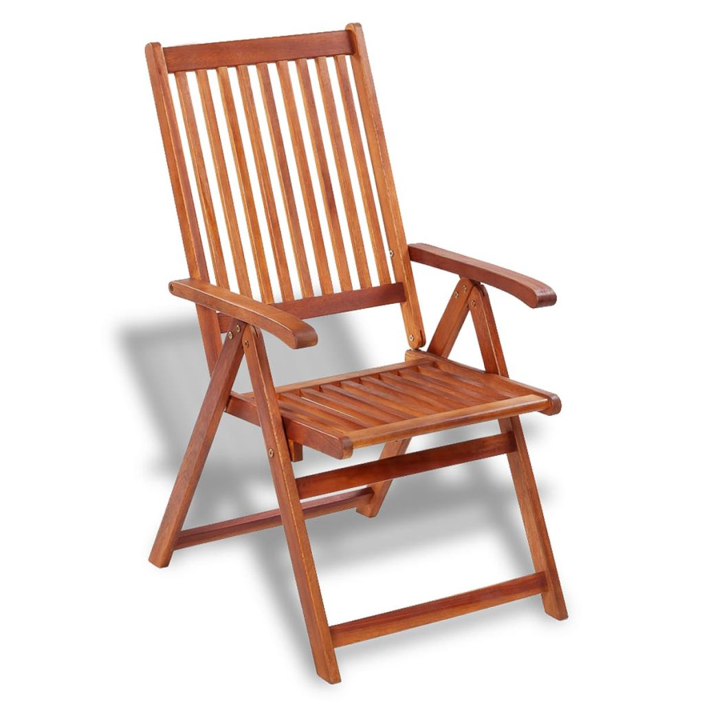 Folding Garden Chairs 2 pcs Solid Acacia Wood Brown 3