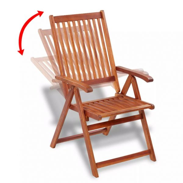 Folding Garden Chairs 2 pcs Solid Acacia Wood Brown 4
