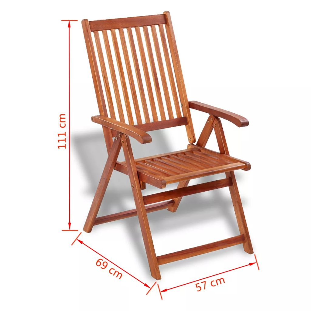 Folding Garden Chairs 2 pcs Solid Acacia Wood Brown 9