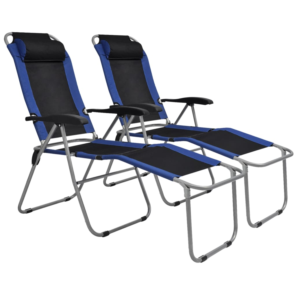 Reclining Camping Chairs 2 pcs Blue and Black 1