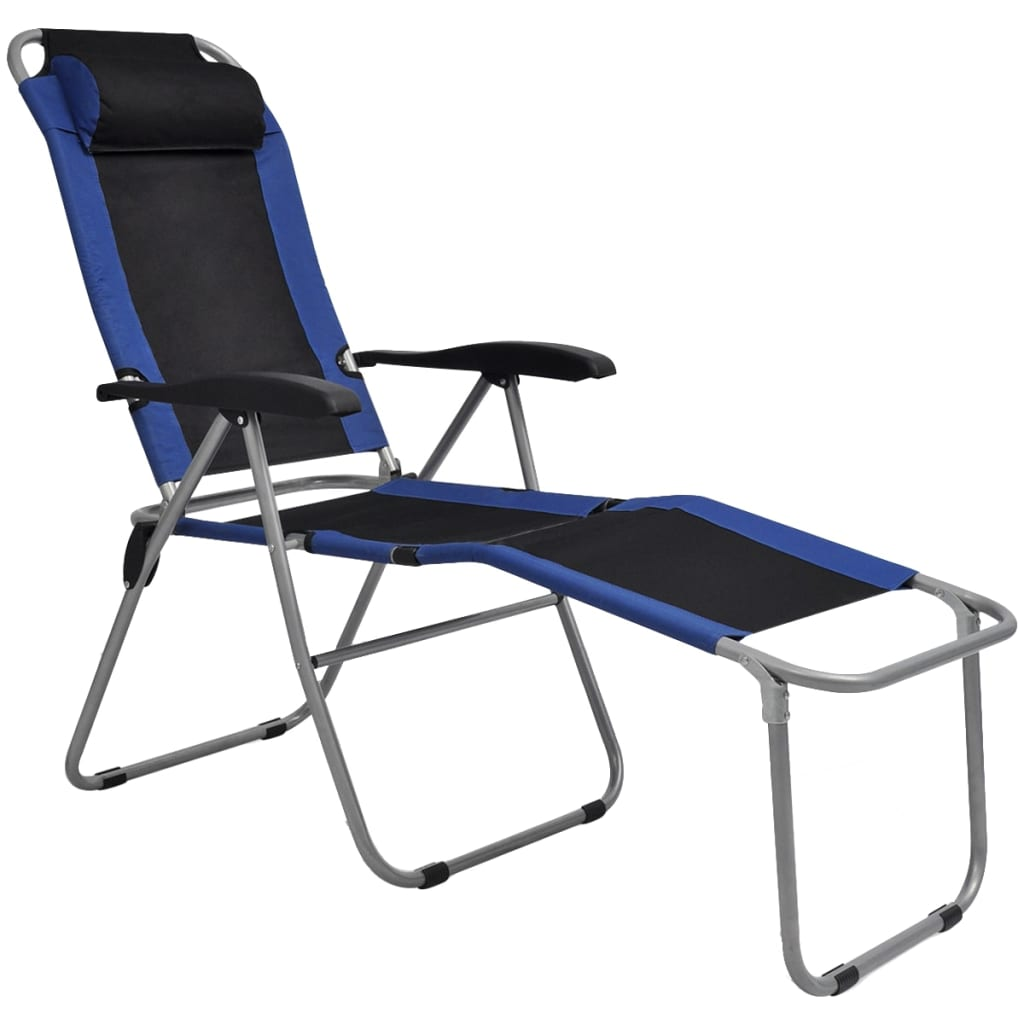 Reclining Camping Chairs 2 pcs Blue and Black 2