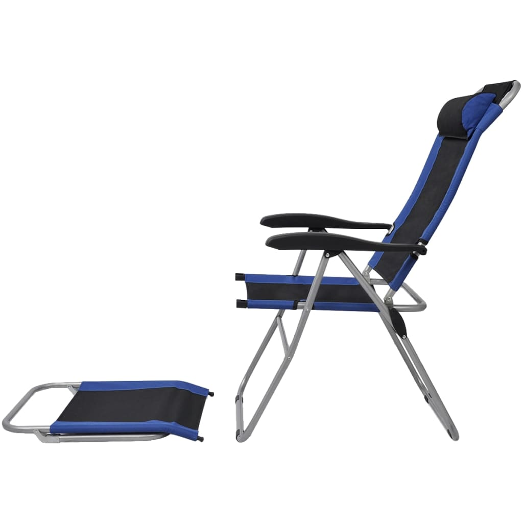 Reclining Camping Chairs 2 pcs Blue and Black 4