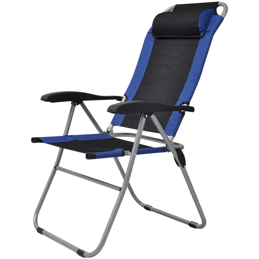 Reclining Camping Chairs 2 pcs Blue and Black 5