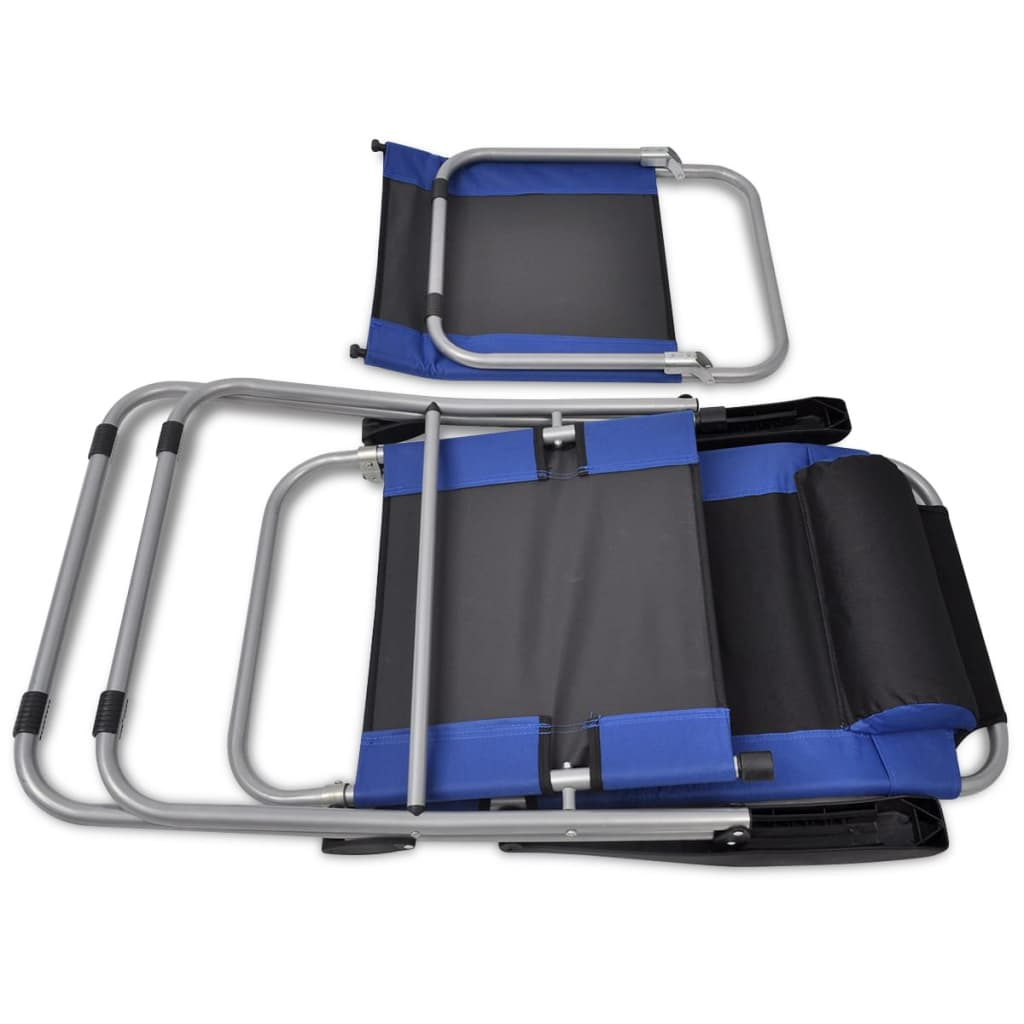 Reclining Camping Chairs 2 pcs Blue and Black 9