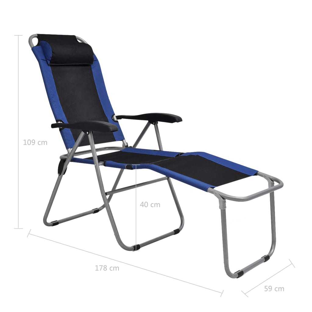 Reclining Camping Chairs 2 pcs Blue and Black 10