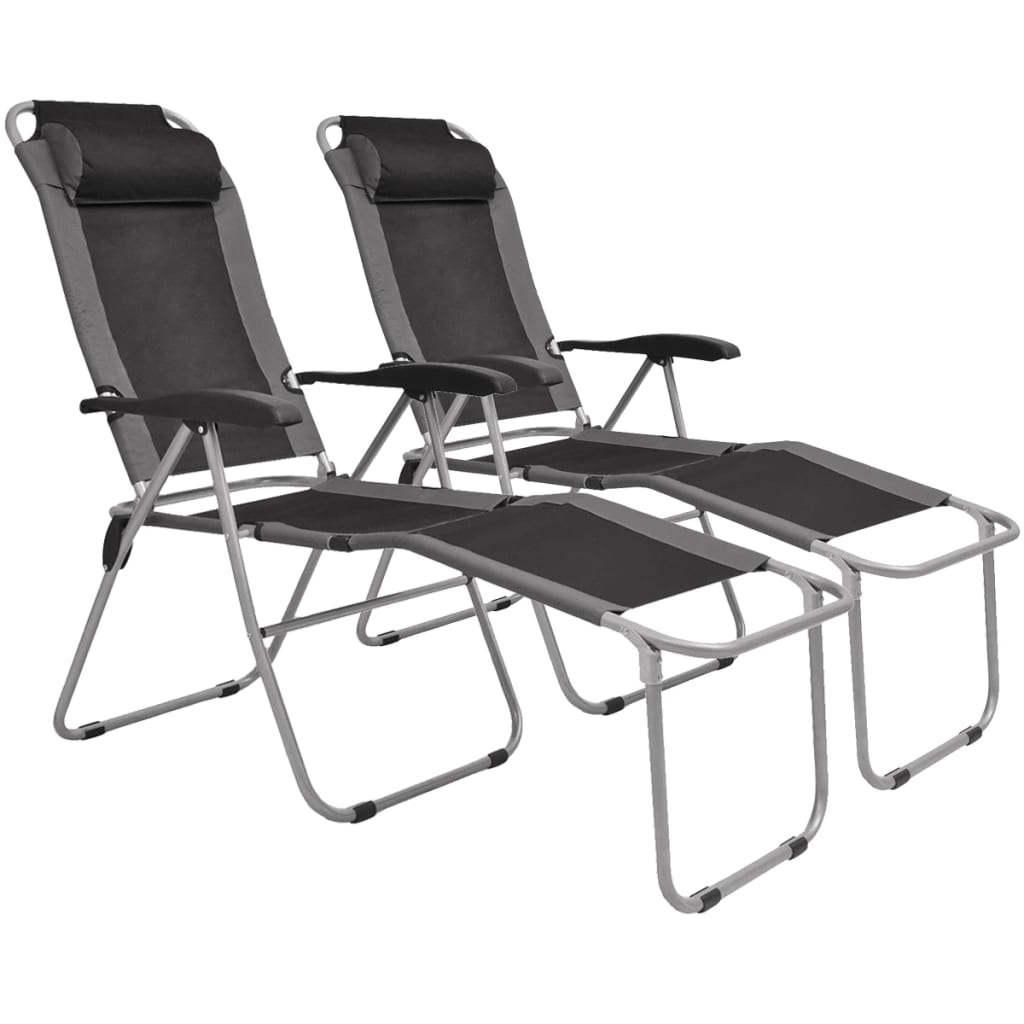 Reclining Camping Chairs 2 pcs Grey and Black