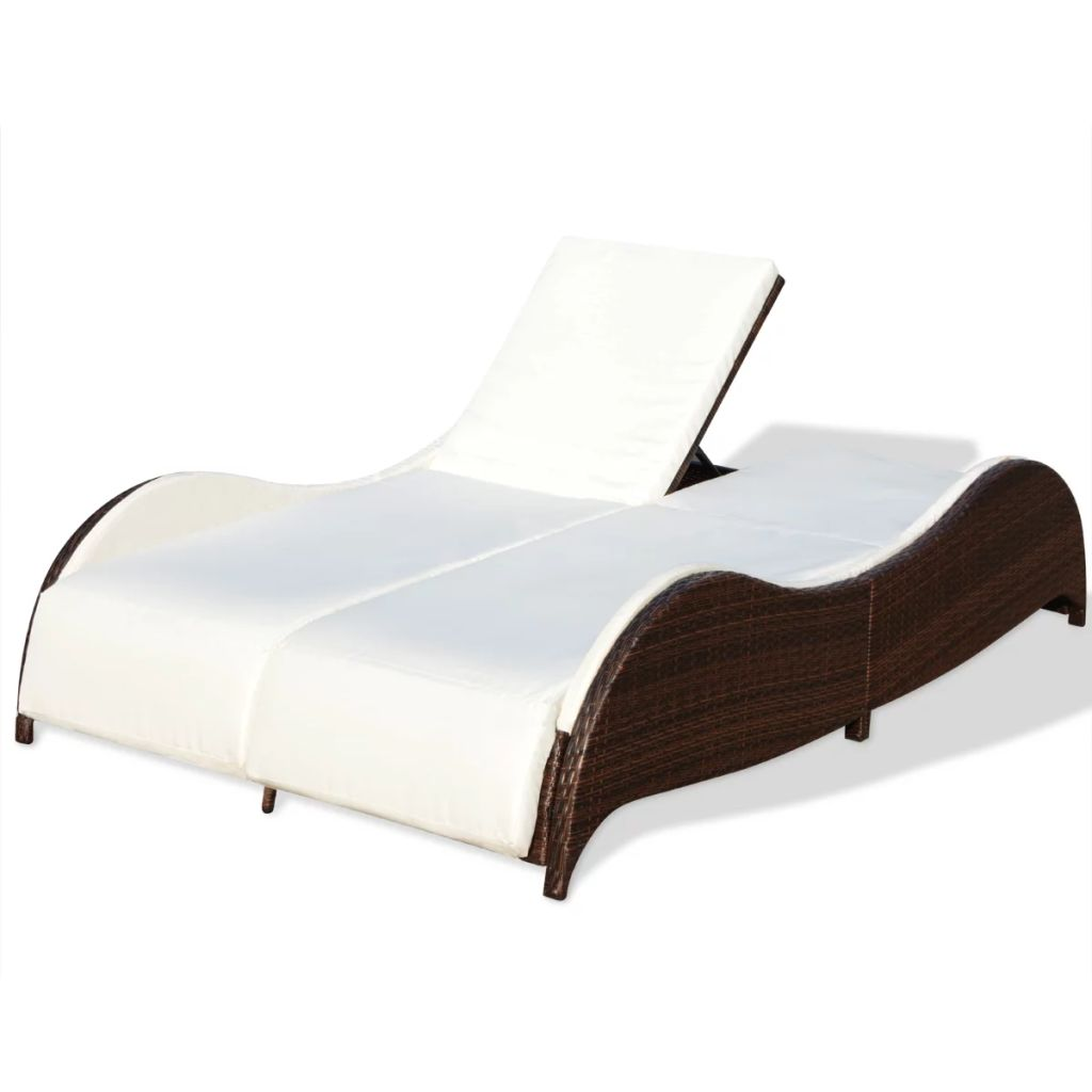 Double Sun Lounger with Cushion Poly Rattan Brown 3