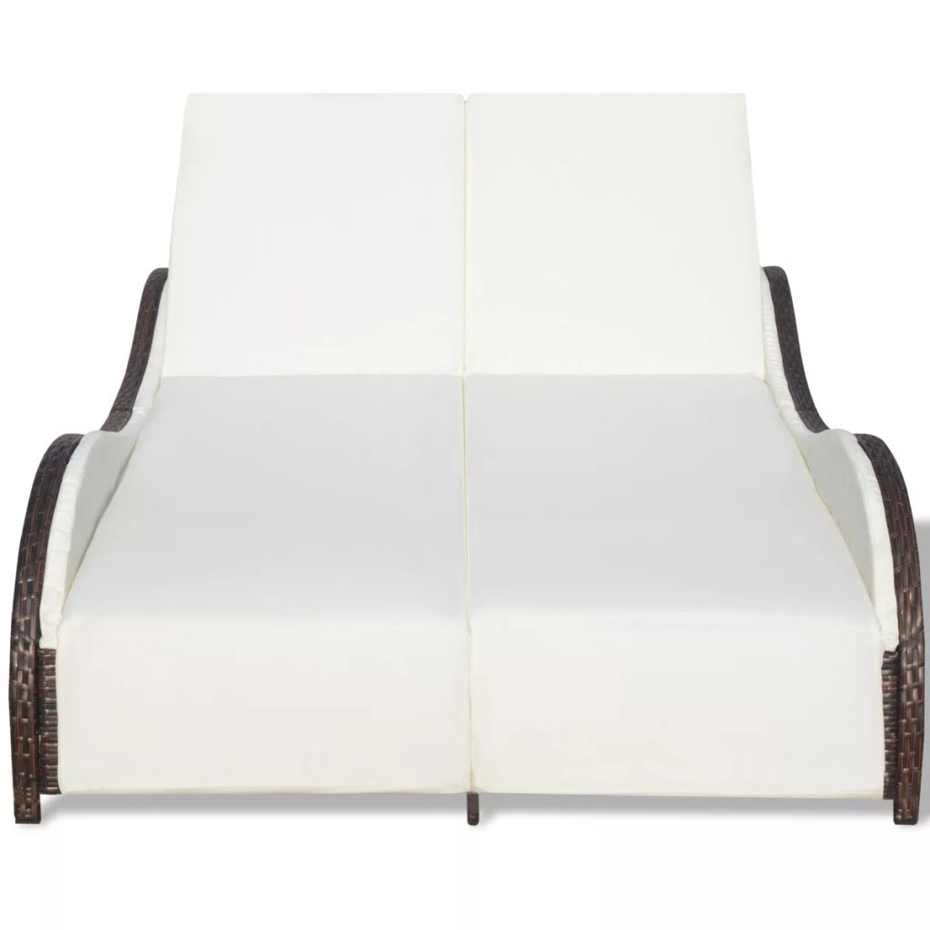 Double Sun Lounger with Cushion Poly Rattan Brown 5