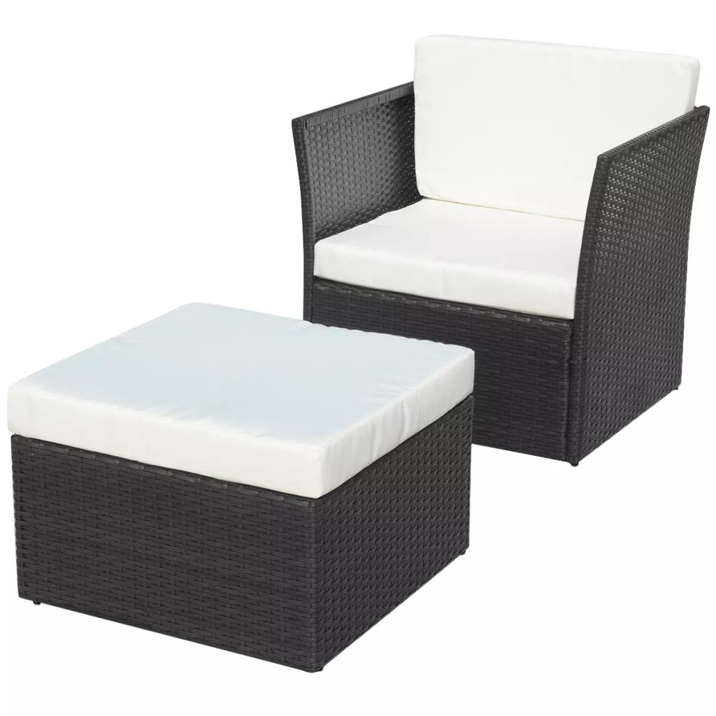 Garden Chair with Stool Poly Rattan Black 1
