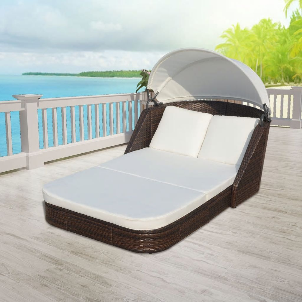 Sun Lounger with Canopy Poly Rattan Brown 1