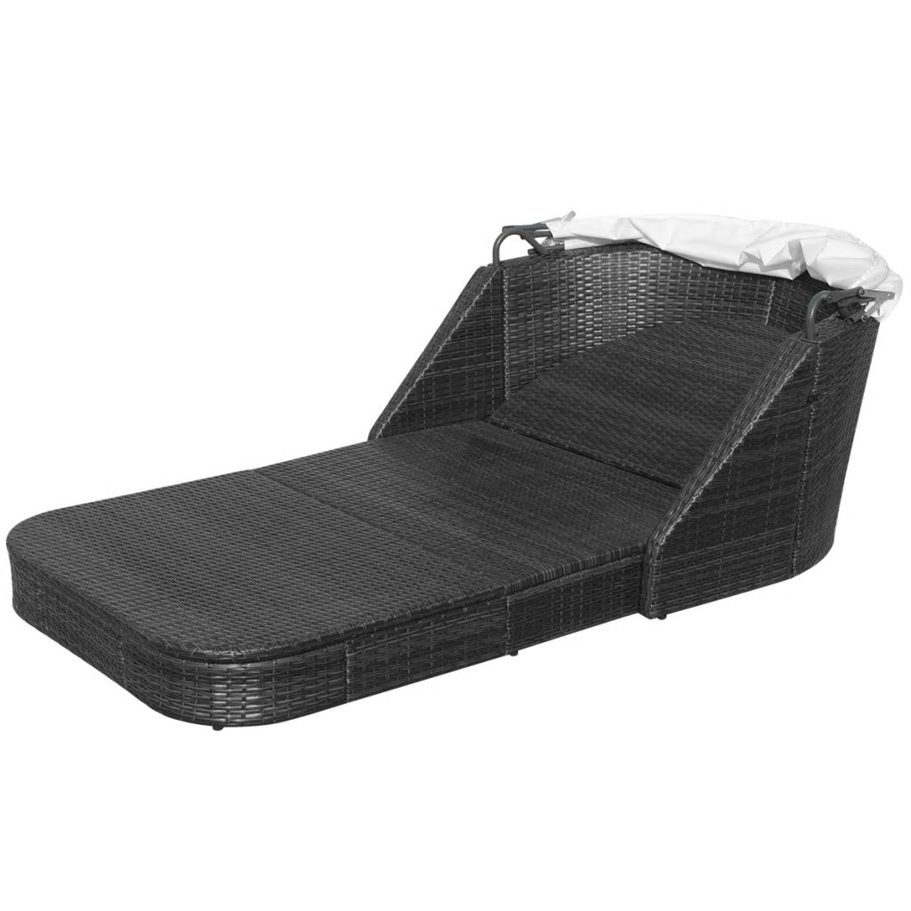 Sun Lounger with Canopy Poly Rattan Black 7