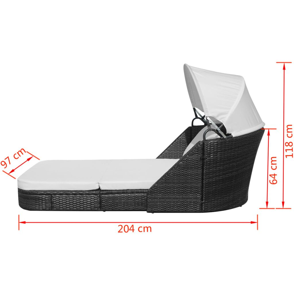 Sun Lounger with Canopy Poly Rattan Black 8