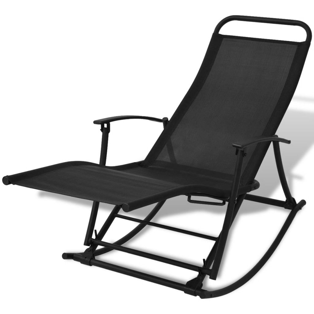 Garden Rocking Chair Steel and Textilene Black 1