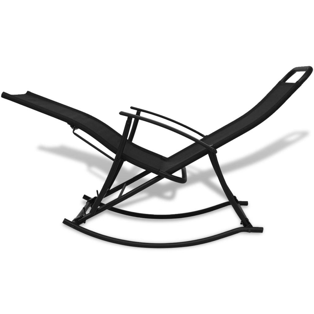 Garden Rocking Chair Steel and Textilene Black 4
