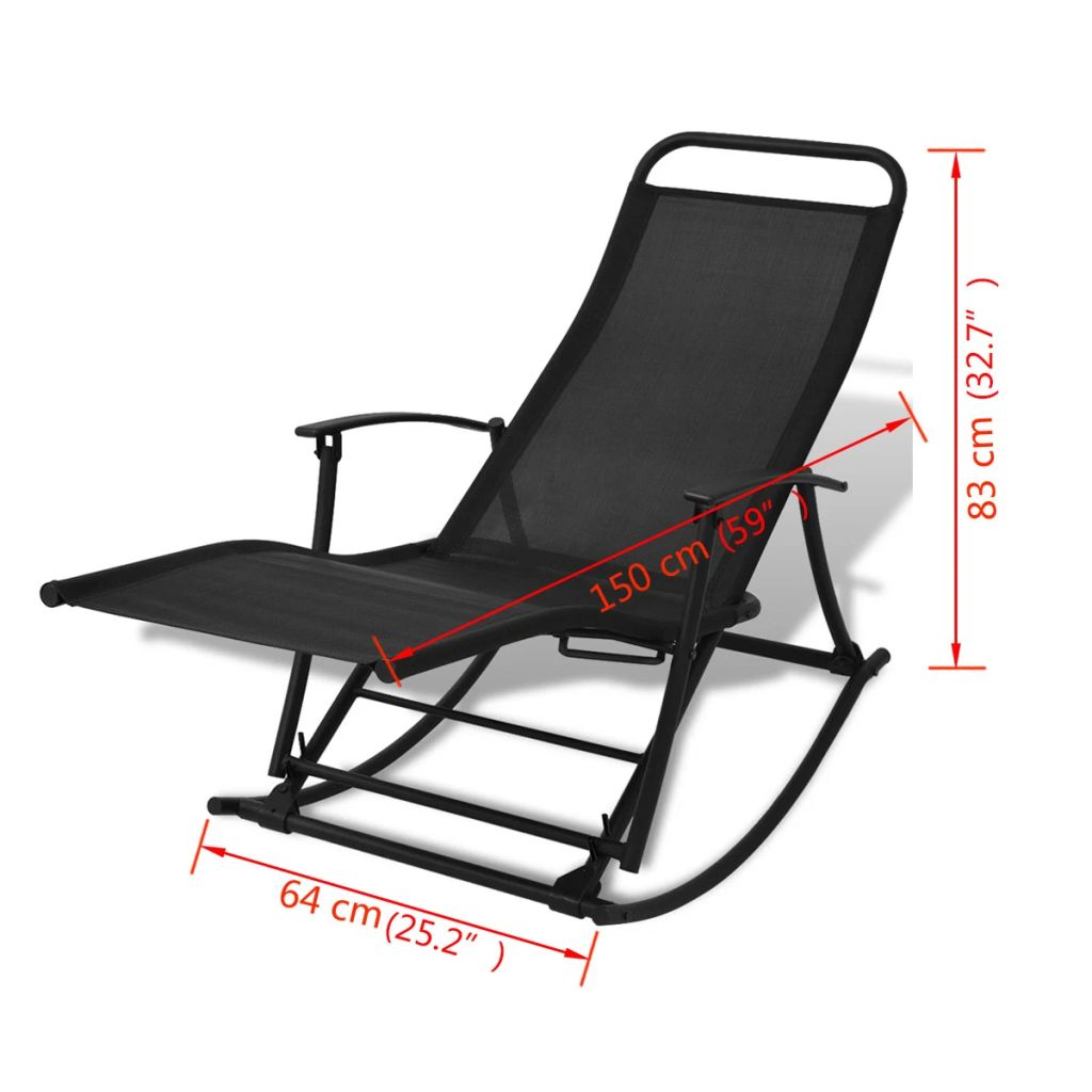 Garden Rocking Chair Steel and Textilene Black 8
