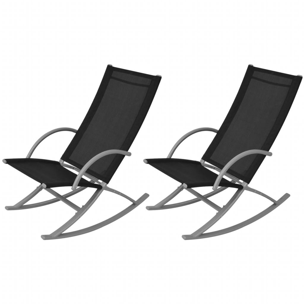 Garden Rocking Chairs 2 pcs Steel and Textilene Black 1