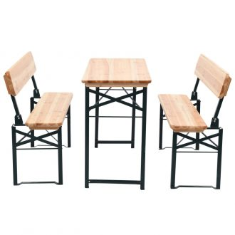 Folding Beer Table with 2 Benches 118 cm Fir Wood 1