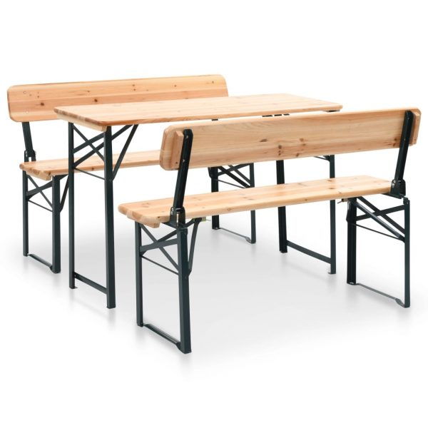 Folding Beer Table with 2 Benches 118 cm Fir Wood 4