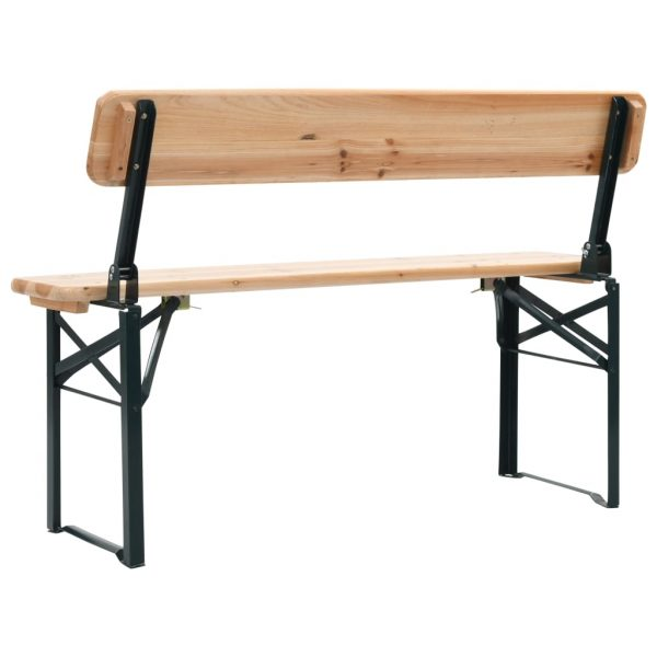 Folding Beer Table with 2 Benches 118 cm Fir Wood 8
