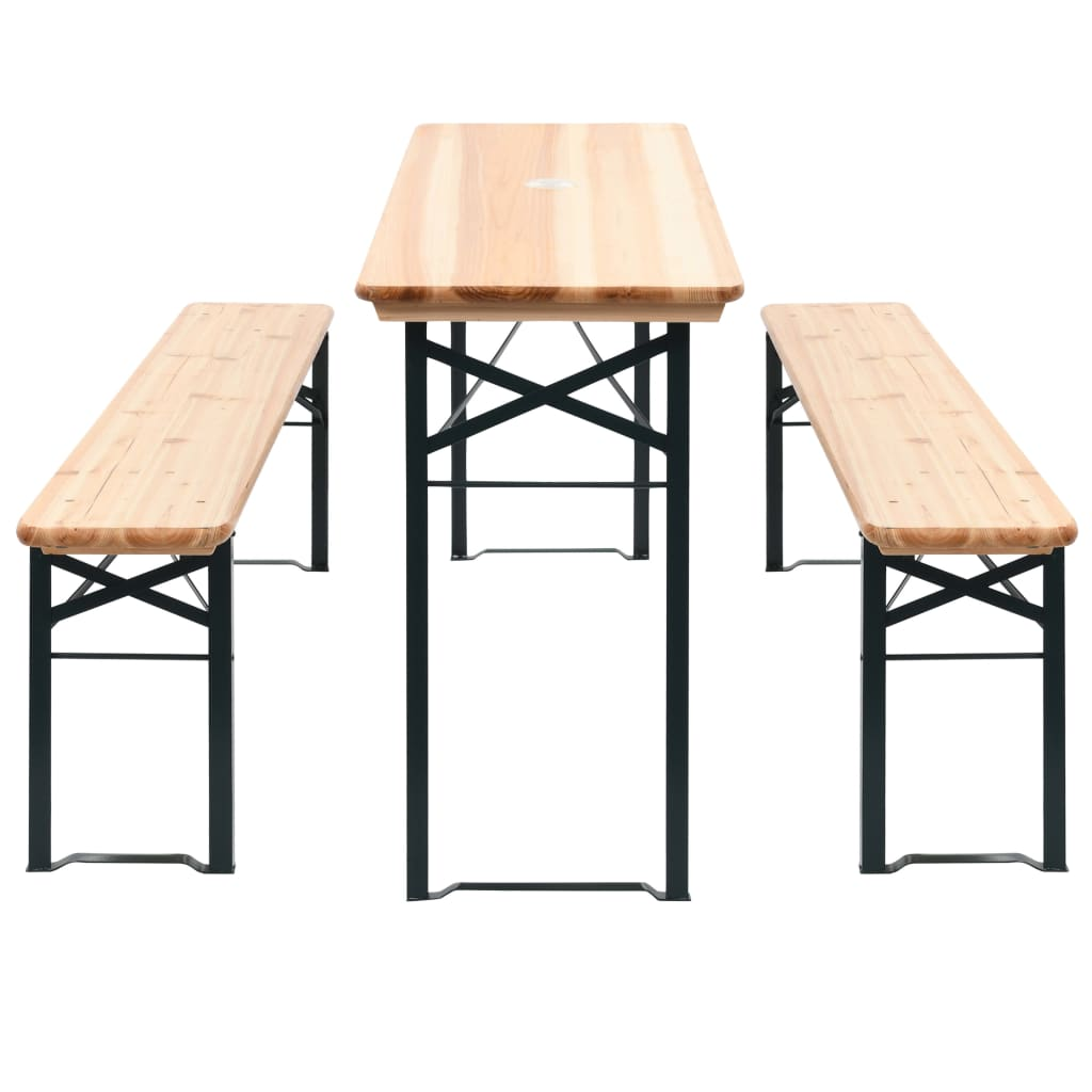 Folding Beer Table with 2 Benches 177 cm Pinewood