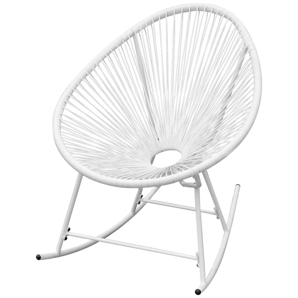 Outdoor Rocking Chair White Poly Rattan 1