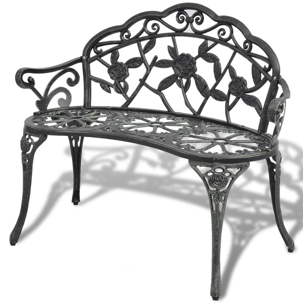 Garden Bench 100 cm Cast Aluminium Green 1