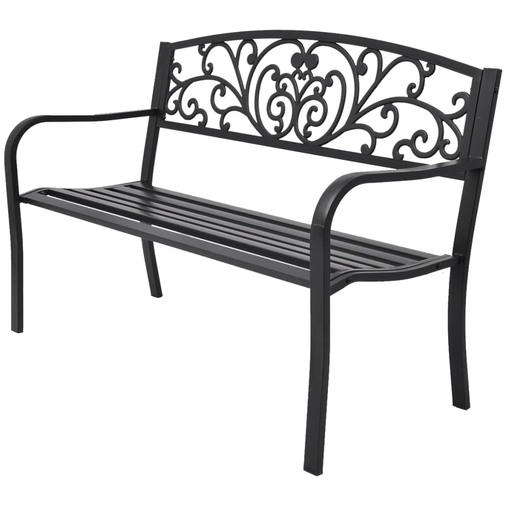 Garden Bench 127 cm Cast Iron Black 1