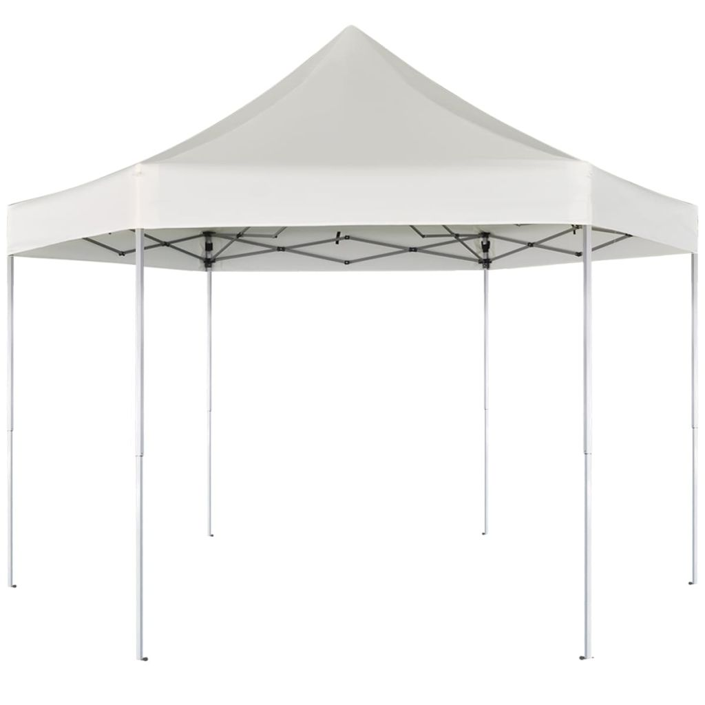 Hexagonal Pop-Up Foldable Marquee Cream White 3.6x3.1 m