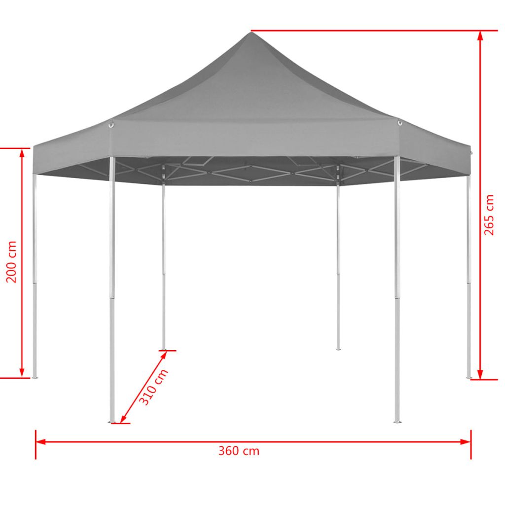 Hexagonal Pop-Up Foldable Marquee Grey 3.6×3