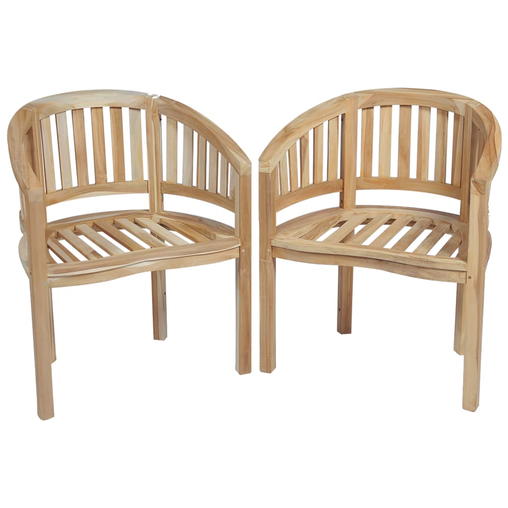 Banana Chairs 2 pcs Solid Teak Wood 1