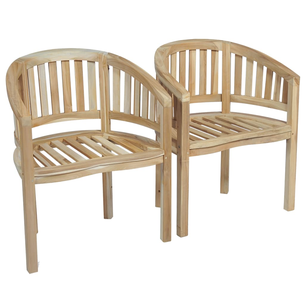 Banana Chairs 2 pcs Solid Teak Wood 2