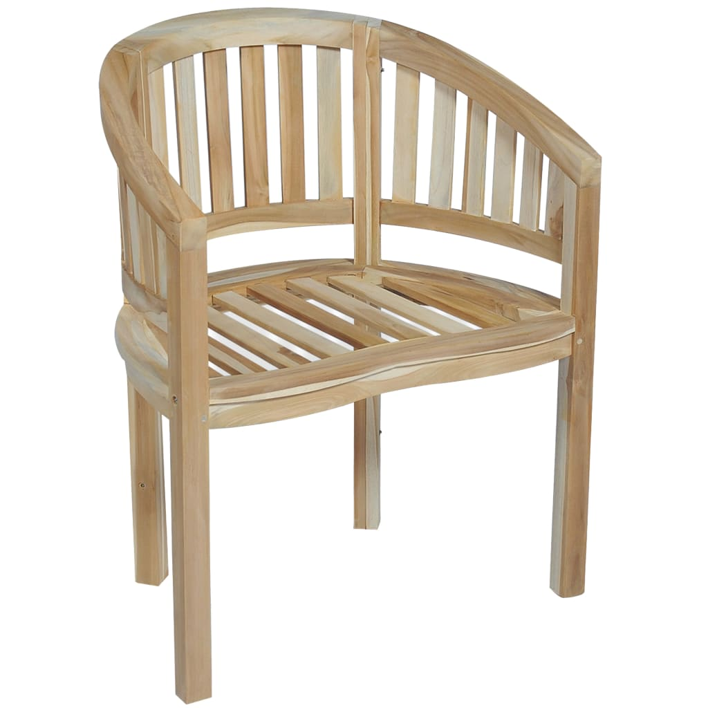 Banana Chairs 2 pcs Solid Teak Wood 3