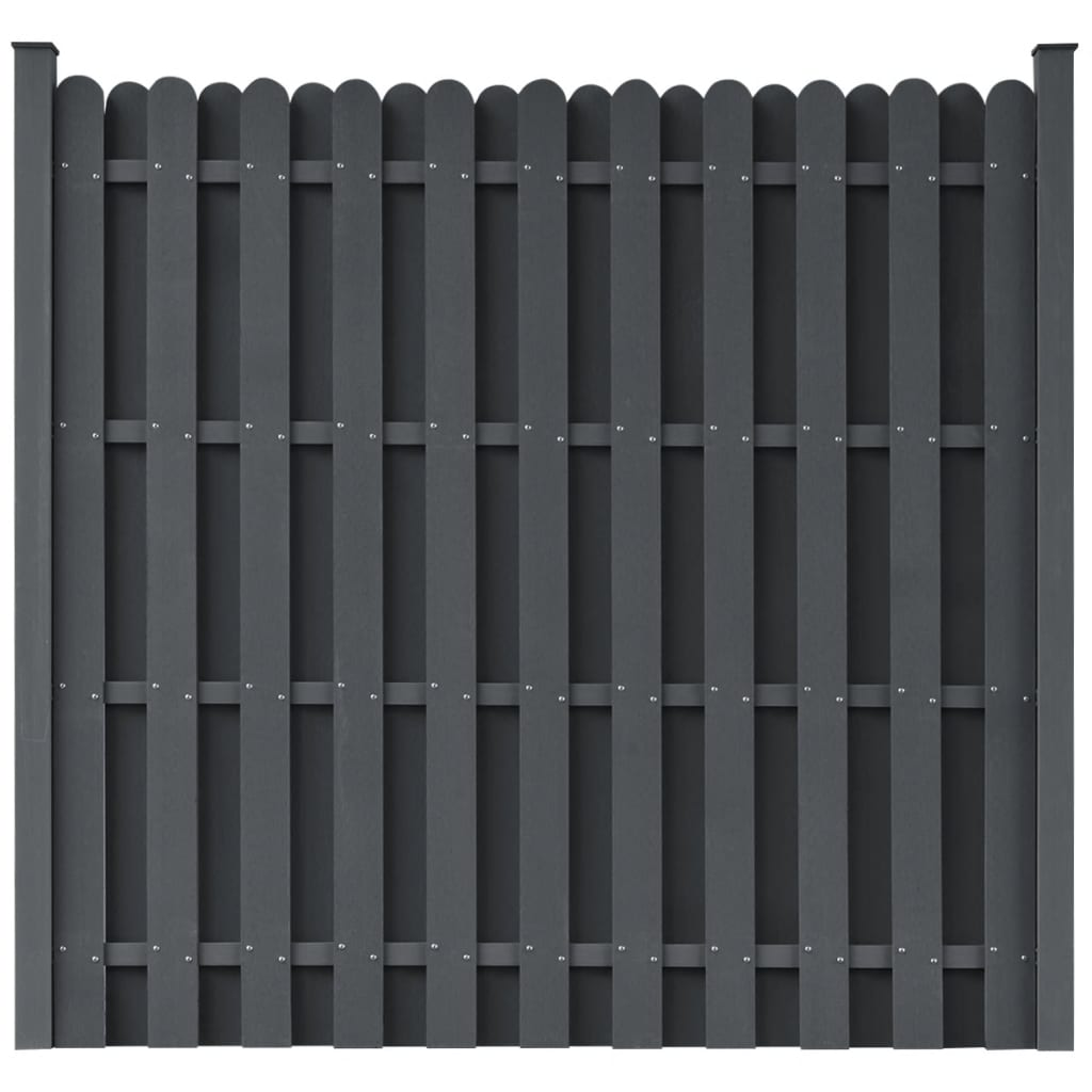 Fence Panel with 2 Posts WPC 180×180 cm Grey 1