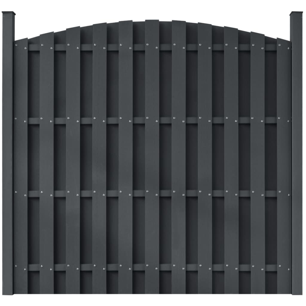 Fence Panel with 2 Posts WPC 180x(165-180) cm Grey
